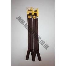 "Optilon Concealed Zips 8"" (20cm) - Brown"
