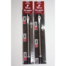 """Metal Zips 4"""" ( 10cm) - Black"""
