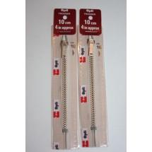 """Metal Zips 4"""" (10cm) - Cream"""