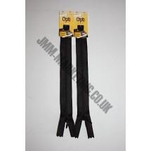 "Optilon Concealed Zips 12"" (30cm) - Black"