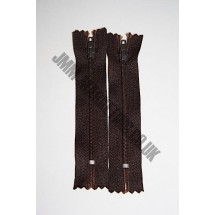 "Nylon Zips 8"" (20cm)  - Dark Brown"