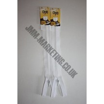 "Optilon Concealed Zips 20"" (51cm) - White"