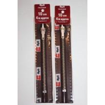"""Metal Zips 6"""" (15cm) - Brown"""