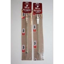 """Metal Zips 10"""" (25cm) - Beige"""