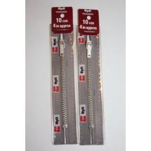 """Metal Zips 10"""" (25cm) - Mid Grey"""