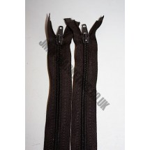"""Open Ended Zips 24"""" (61cm)  - Brown"""